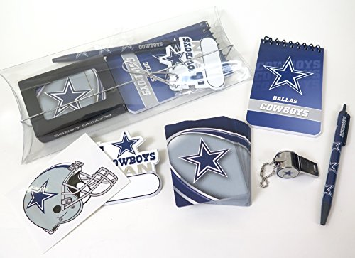 Football Magnet Cowboys (Dallas Cowboys gift pack includes game cards, decal , magnet, and football whistle, key chain .)