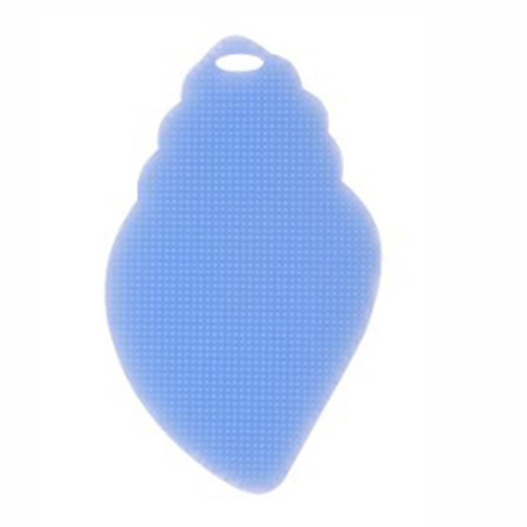 Staron 1pcホットシリコンディッシュ洗濯スポンジScrubberリーフスタイルMultipurpose DishwashingブラシScrubberボウルWash抗菌キッチンクリーンツール B076WS68VC ブルー