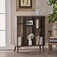 Elizabeth Mid Century Walnut Finished Faux Wood Bookshelf with Sanremo Oak Backing