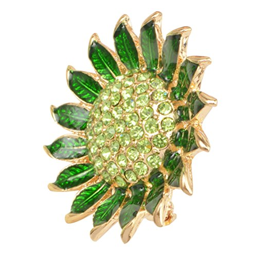 Fenical Enamel Sunflower Brooch Women Crystal Rhinestone Lapel - Flower Enamel Green Brooch