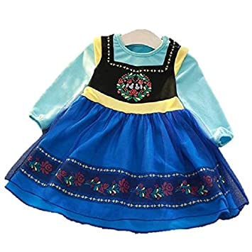 49c4dd979ebe5 アナ雪 アナ風 ワンピース 子供 コスプレ キッズ 仮装 衣装 長袖 (130)