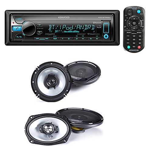 Kenwood KDC-BT565U Single DIN Bluetooth In-Dash CD/AM/FM Car Stereo + Kenwood KFC-1665S 60W 6.5
