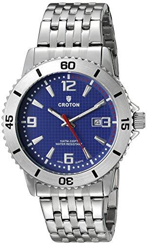 Croton Mens Quartz Watch - CROTON Men's CA301288SSBL Analog Display Quartz Silver Watch