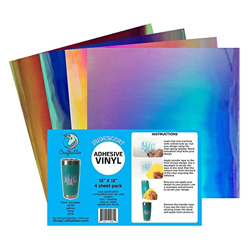 Craftables Iridescent Vinyl Starter Pack - Chrome Polish Finish Craft Vinyl for Cricut and Silhouette Cameo - (4) 12 x 12 Sheets