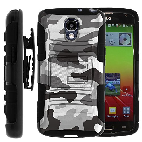 LG Volt Case, LG Volt Holster, Two Layer Hybrid Armor Hard Cover with Built in Kickstand and Unique Graphic Images for LG Volt F90, LS740 (Sprint, Boost Mobile, Virigin Mobile) from MINITURTLE | Includes Screen Protector - Gray Camouflage (Boost Cases Phone Lg Mobile For)