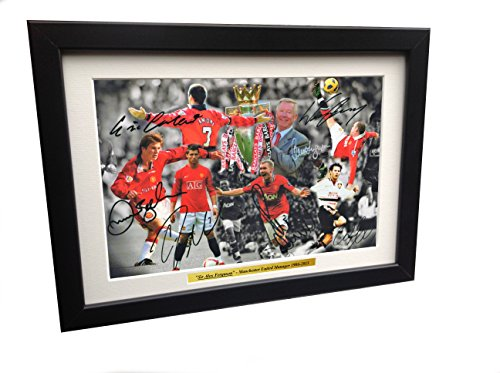 - 12x8 A4 Signed THE ALEX FERGUSON YEARS Celebration -Cantona-Ronaldo-Beckham-Giggs-Rooney-Scholes Autographed Manchester United Photo Frame Photograph Picture Gift