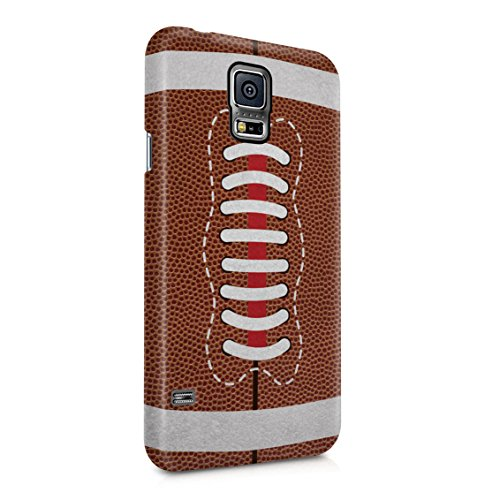 (Team Outdoor American Football Rugby Rugged Leather Ball Pattern Print Plastic Phone Snap On Back Case Cover Shell for Samsung Galaxy S5)
