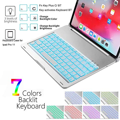 [해외구매대행 $55 99] iPad Pro 11 Case with Keyboard - Backlit 7 Colors –  Aluminum Hard Shell - Auto Sleep/Wake - Support Apple Pencil