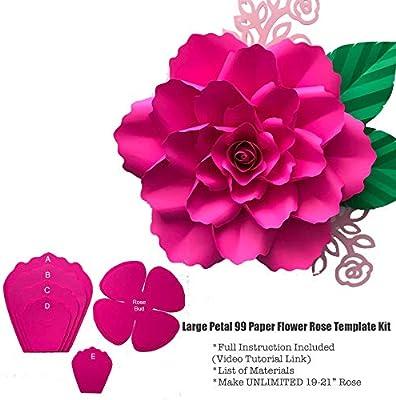 Large 19 21 Petal 99 Hard Copy Paper Flower Templates