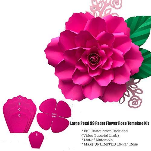 Large 19-21 Petal 99 Hard Copy Paper Flower Templates