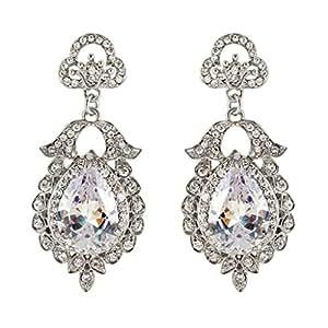EVER FAITH Women's Crystal Wedding Floral Leaf Teardrop Pierced Dangle Earrings Clear Silver-Tone