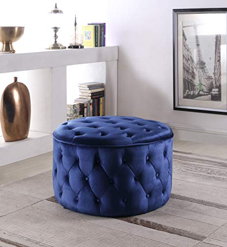 Iconic Home Mahlah Ottoman Button Tufted Velvet Upholstered Round Pouf, Modern Contemporary, Navy