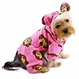 Adorable Silly Monkey Fleece Dog Pajamas / Bodysuit with Hood Color: Pink, Size: Small For Sale