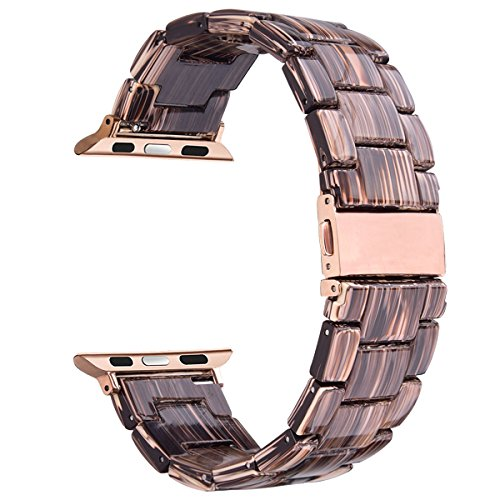 V-Moro Compatible 38mm 40mm Apple Watch Band Women Men- Fashion Resin iWatch Band Bracelet with Copper Stainless Steel Buckle for Apple Watch Series 4 Series 3 Series 2 (Coffee Wood Grain, 38mm)