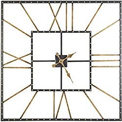 Ashley Furniture Signature Design - Thames Wall Clock - Contemporary Glam - Black/Gold Finish