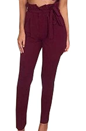 DTWYCQ Damen Hosen Elegant High Waist Stretch Chiffon Skinny Hosen Pants  Casual Streetwear Hosen mit Tunnelzug  Amazon.de  Bekleidung dcdbd14d3a