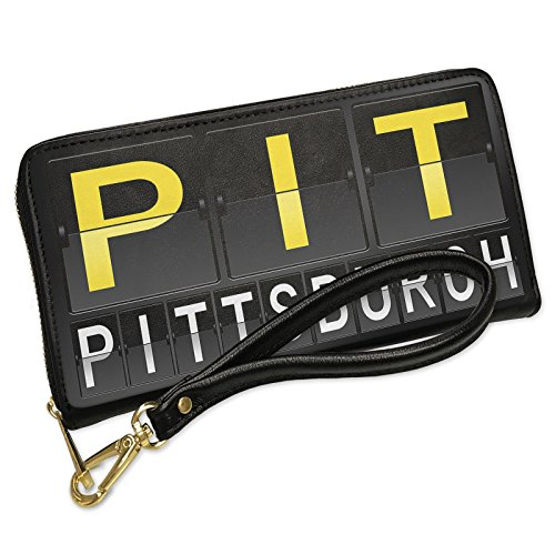 Wallet Clutch PIT Airport Code for Pittsburgh with Removable Wristlet Strap - Shops Airport Pittsburgh