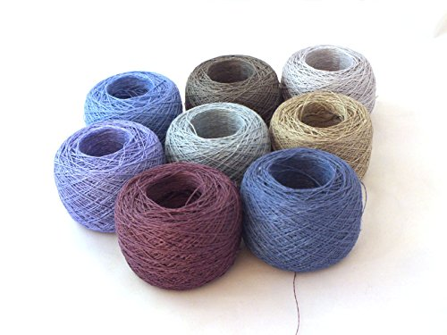 Linen Wool Yarn - 100% Linen Lace Yarn Random Color 1lb Ball Mix 3-ply Flax (blue green shades)