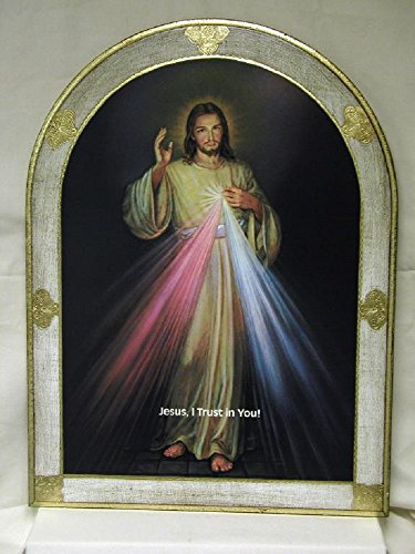 Divine Mercy Florentine plaque in a bell shape with white and gold border and the words inches Jesus, I Trust in You!inches, 23 x 31 inches. Made in Italy. by GSV001