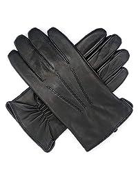 Harssidanzar Mens Luxury Goatskin Leather Gloves Fleece Lined, Black, L