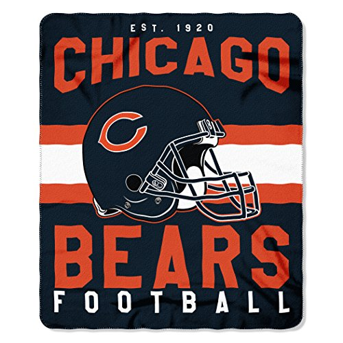 (The Northwest Company NFL Chicago Bears Singular Fleece Throw, 50-inch by 60-inch, Blue )