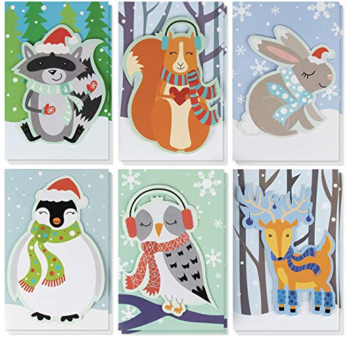 - Christmas Card - 24-Pack Holiday Greeting Card, Merry Xmas Cards in 6 Cute Animal Designs, Cards with Message Inside - Seasons Greetings - Assorted Winter Handmade Cards with Envelopes, 4 x 6 Inches