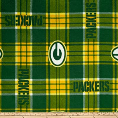 NFL Greenbay Packers Plaid Fleece Green/Yellow Fabric By The Yard