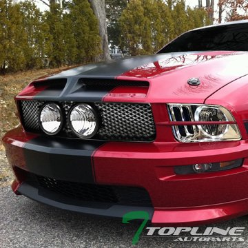 Topline Autopart Factory Crystal Style Chrome Clear LED Halo Headlights NB + Matte Black Mesh Front Bumper Hood Grill Grille Conversion For 05-09 Ford Mustang GT (Nb Led)