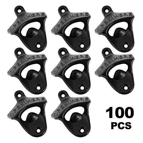 OrangeA Set of 100 Rustic Bottle Opener Classic Vintage Finish Wall Mount Bottle Opener OPEN HERE Cast Iron Bottle Opener for Home Bars and Man Cave