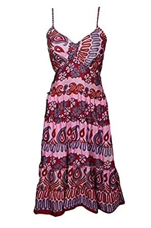 Bohemian Chic Designs Womens Fit Flare Dresses Recycled Silk Spaghetti Strap Printed Dress S/M Maroon,Pink