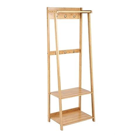DUOMING Percheros Perchero, Rack de Piso de bambú Simple ...