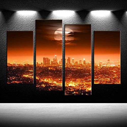 iKNOW FOTO 4pcs Canvas Prints Full Moon USA Los Angeles Skyline Wall Art Night Cityscapes New York Painting Printed On Canvas Pictures Giclee Artwork for Modern Home Office Decorations (Los Angeles Photo)