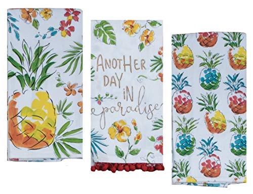 (3 Pineapple Themed Decorative Cotton Kitchen Towels Set   Tropical Beach Style Print   2 Dual Purpose, 1 Flour Sack Towel for Dish and Hand Drying   by Kay Dee Designs)