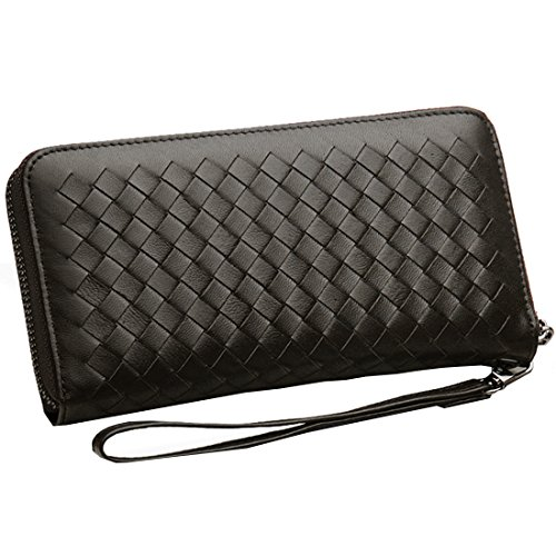 Qidell Female and Male Genuine Leather Wallet Sheepskin Long Woven High-capacity Zipper Clutch Purse (dark gray) ()