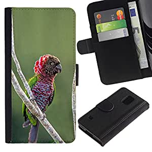 KingStore / Leather Etui en cuir / Samsung Galaxy S5 V SM-G900 / Direction Nature Oiseau Jungle