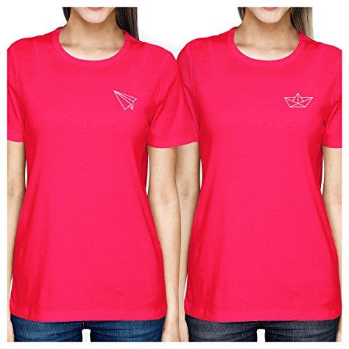 manga mujer Camiseta 365 rosa sola corta y Printing plano origami de color de de para pieza una wrrAvqx
