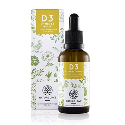 Vitamin D3 1000 I.E - 25 µg. Pflanzlich und flüssig in hochwertigem MCT Öl aus Kokos. Vitamin D3 (Cholecalciferol) mit 1350 Tropfen (50ml). Hochdosiert, vegan und hergestellt in Deutschland