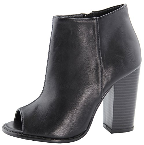ANNE MARIE Womens Peep Toe Inner Zip Chunky Stacked Block Heel Ankle Bootie Black S1HdF