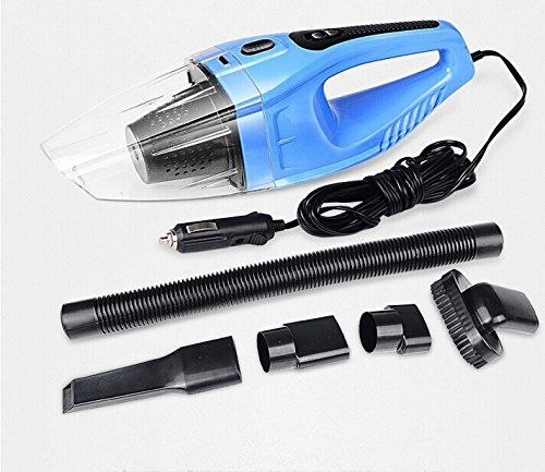 Car Vacuum Cleaner / Portable Handheld Dry Wet Vacuum Cleaner and 5 Meter Extension Cord with Cigarette Lighter Plug / Handy Car Accessories / Blue
