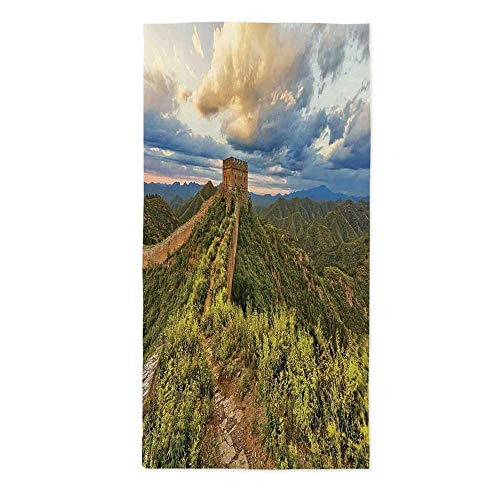 TecBillion Great Wall of China Polyester Tablecloth,Exquisite Skyline on Classical Old Castle Wonder of The World Themed for Wedding Banquet Restaurant,60''W X 102''L