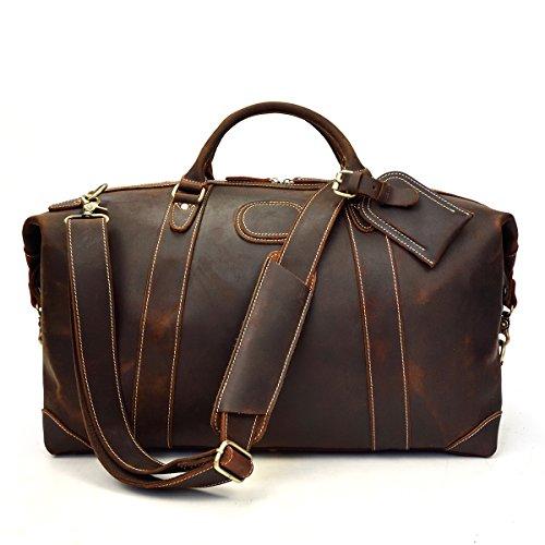 Bolso de lona, bolso de viaje de cuero genuino de los hombres Bolso de cuero de grano superior Bolso de fin de semana de la vendimia de alta capacidad de cuero (Light Brown) Dark Brown