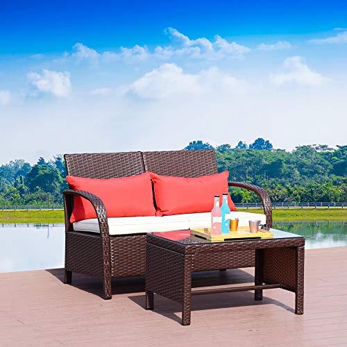 Homevibes 2 Pieces Patio Rattan Loveseat Sofa Furniture Bistro Set Outdoor Wicker Garden Loveseat Glass Top Table