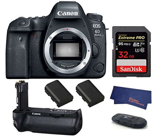 Canon EOS 6D Mark II DSLR Camera (Body Only) (USA Warranty) + Canon BG-E20 Battery Grip + 2 Spare Batteries + 32GB Extreme PRO Memory Card ()