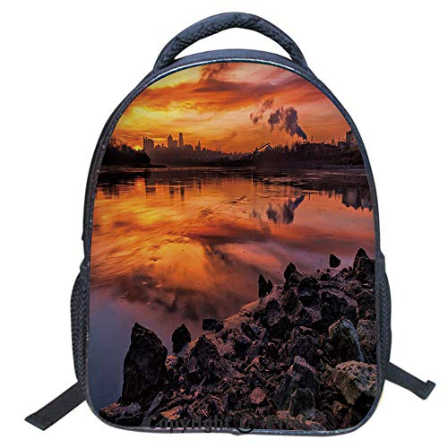 Double Strap Multipurpose Backpack,Polyester Fiber,Large Capacity,3D Backpack for Laptop,16 inch,USA Missouri Kansas City Scenery of a Sunset Lake Nature Camping Themed Art Photo