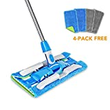 HAPINNEX Professional Microfiber Hardwood Floor Mop - Telescopic Extension Rod/Handle - 4 Free Washable/Reusable Mop Cloths/Pads - For Home Kitchen Bathroom Cleaning - Wet/Dry Usage on Laminate/Tile