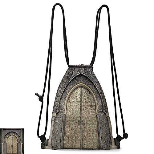 Gym backpack Moroccan Decor Aged Gate Geometric Pattern Doorway Design Entrance Architectural Oriental Style W14