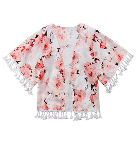 Greenafter Kid Toddler Girls Floral Print Jacket Tassel Kimono Cardigan Cover up Blouse Summer Coat(Floral A, 5-6Year) -