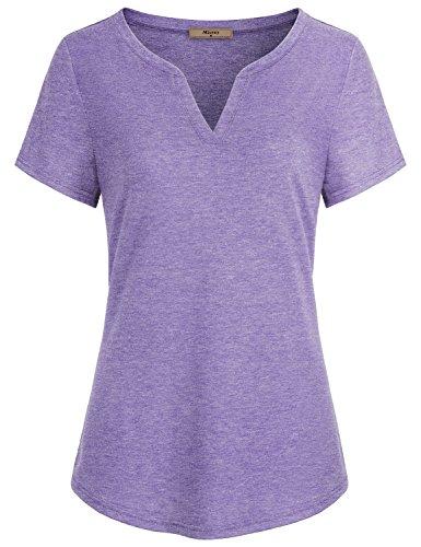 Miusey Women Summer Tops, Ladies V Neck Short Sleeve Casual Curved Hem Henley Work Attire T Shirt Tunic Blouses Purple -