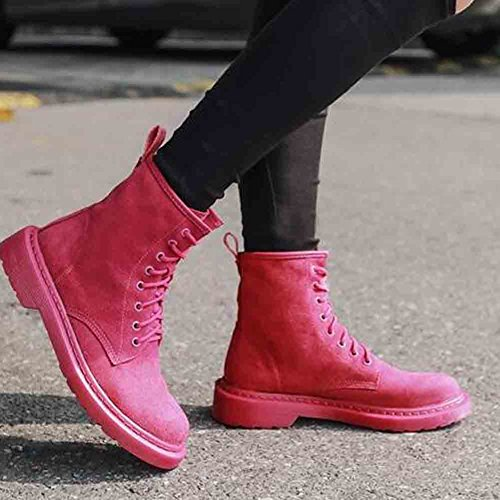 Easemax Womens Trendy Frosted Round Toe Low Heel Lace Up Boots Pink UEj72
