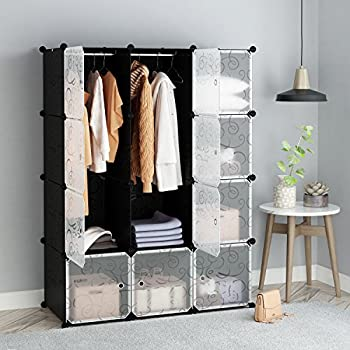 Attrayant Tespo Portable Clothes Wardrobe Closet Storage Organizer With Doors  12cubes,black,white